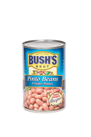 Reno, USA, : December, 2nd 2011: Can of Bushs Best Pinto Beans Frijoles.