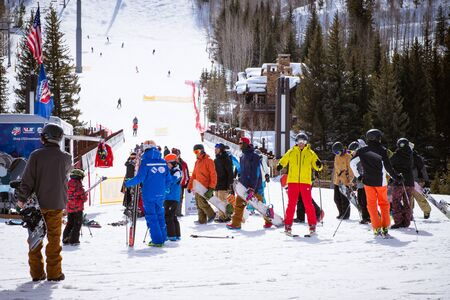 VAIL, USA, FEBRUARY, 13th 2015: SkIers and lift during ski season in Vail, Colorado Editorial