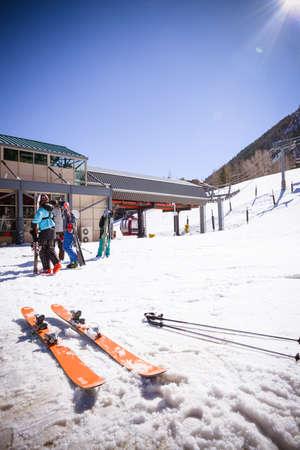 ASPEN, USA, FEBRUARY, 13th 2015: SkIers and lift during ski season in Aspen, Colorado Editorial