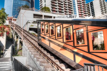 LOS ANGELES, NOVEMBER 27, 2010: Built in 1901 by Colonel J.W. Eddy, friend of President Lincoln, Angels Flight is said to be the worlds shortest incorporated railway.
