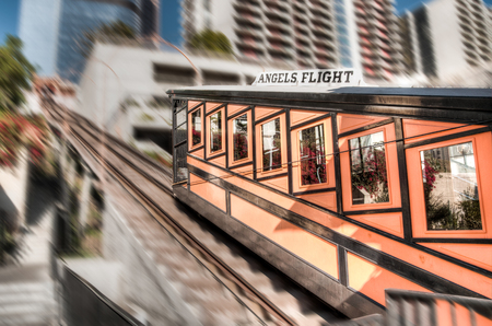 eddy: LOS ANGELES, NOVEMBER 27, 2010: Built in 1901 by Colonel J.W. Eddy, friend of President Lincoln, Angels Flight is said to be the worlds shortest incorporated railway.