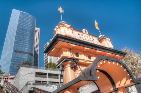 shortest: LOS ANGELES, NOVEMBER 27, 2010: Built in 1901 by Colonel J.W. Eddy, friend of President Lincoln, Angels Flight is said to be the worlds shortest incorporated railway.