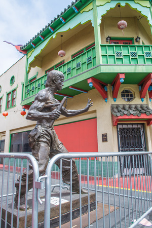LOS ANGELES, USA - JUNE 14TH: In June 2013, the sole Bruce Lee statue in North America was unveiled in Central Plaza Chinatown Los Angeles. Editorial