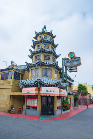 LOS ANGELES, USA - JUNE 14TH: The colorful Hop Loui Restaurant in Chinatown on June 14, 2015. Officially, Chinatown was founded onJune 25, 1938 in Los Angeles Editorial