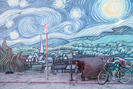 homage: LOS ANGELES, CA - OCTOBER 11th,  2015: Mural Homage to a Starry Night by Rip Cronk, located in Venice, a beachfront district on the Westside of Los Angeles, California