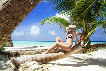 Beautiful shapely woman in a bikini reclining on a palm tree trunk suntanning on an idyllic tropical beach