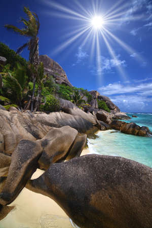 Beautiful shoreline of large boulders and palm trees along a beach and cyan colored water photo