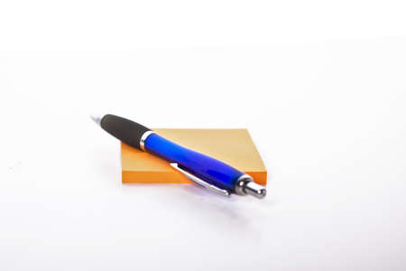 bloc: write with a pen and a note bloc Stock Photo