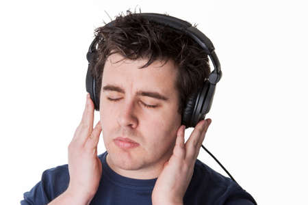 listened: music will be best listened with headphones Stock Photo