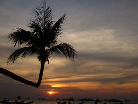 Beautiful sunset at the beach of Ko Tao in Thailand