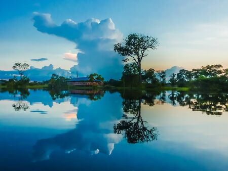 The cloud formations after a storm in the amazon rainforest are amazing and unique. The reflections in the water are an artistic masterpiece.