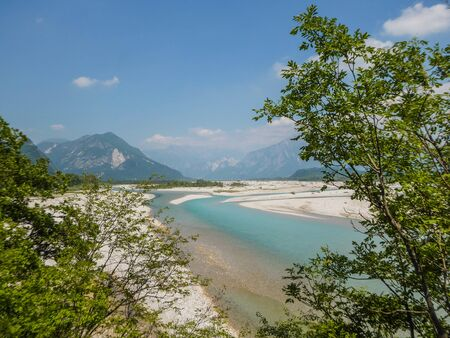 The river Tagliamento in North italy appears the most beautiful blue colors you can imagine.