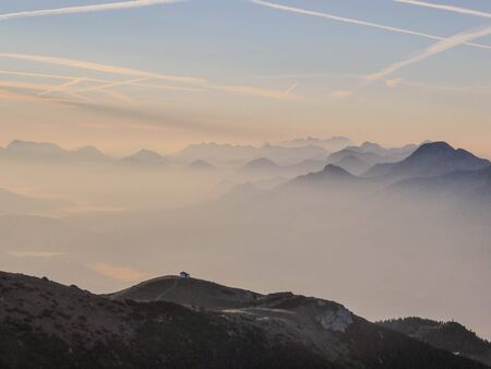 The sunrise in Carinthia in the south of Austria is magical. You can see the boardering mountains to Slovenia and Italy.