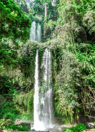 Sendang Gile and Tiu Kelep waterfalls in Senaru in Rinjani National Park (Lombok, Indonesia) are a tropical paradise. Captured 2 days after the earthquake in August 2018