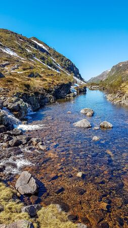 A wast river flowing in the highlands of Norway. River's banks are overgrown with various plants. Crystal clear water. Stony bottom of the river. Clear, blue sky. Zdjęcie Seryjne