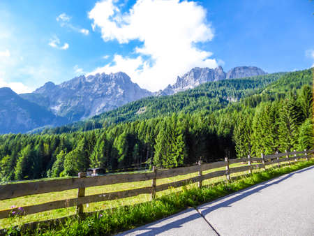 A narrow alpine road, going up towards the taller mountain parts. Along the road there is a fence, guarding the animals from crossing the street. Lush green meadow. Tall mountain range in the back