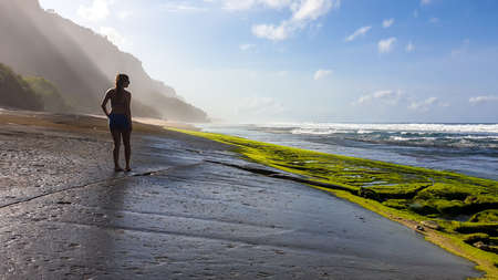 A woman in bikini walking on a stony Nyang Nyang beach, covered with algae and seaweed, Bali, Indonesia. There are cliff on the side. Black lava beach. Discovering and exploring new places. Clear day. Reklamní fotografie
