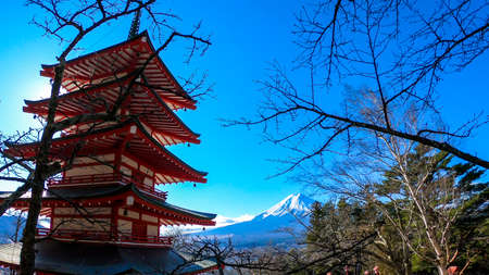 View on Chureito Pagoda and mountain of the mountains Mt Fuji, Japan, captured on a clear, sunny day in winter. Top of the volcano covered with snow. Trees aren't blossoming yet. Postcard from Japan.