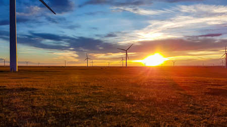 A field of wind turbines build on a vast pasture in Xilinhot in Inner Mongolia. Natural resources energy. Clean energy. Endless grassland. The sun is setting behind horizon. Golden hour. Serenity 免版税图像