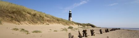 spurn: Panoramic Lighthouse at Spurn Point in yorkshire England