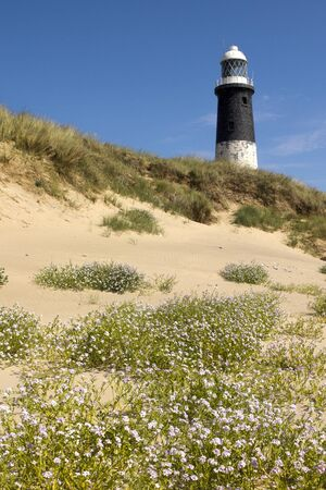 spurn: Lighthouse at Spurn Point in yorkshire England  Stock Photo