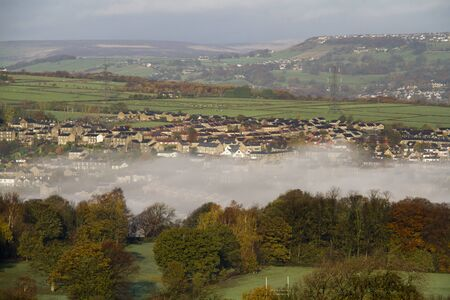 Halifax west yorkshire England beautiful landscape with fog Stock Photo