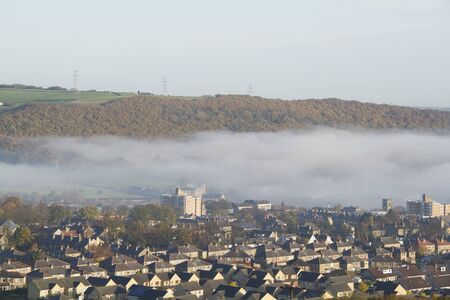 Elland Halifax west yorkshire England beautiful landscape with fog photo
