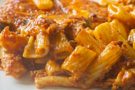 bolognese pasta melt closeup and ready to eat