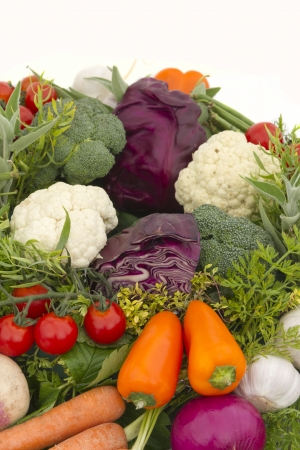 Raw and ripe Vegetable background close up Stock Photo