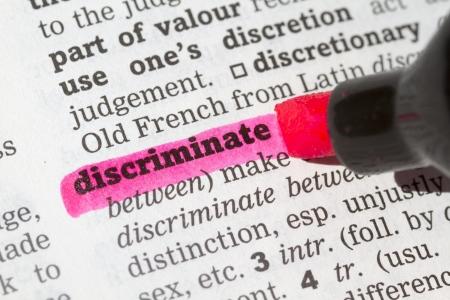 Discriminate Wörterbuch Definition einziges Wort mit Soft-Fokus