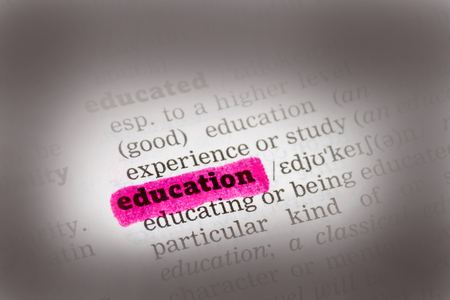 Education Dictionary Definition highkighted in pink marker