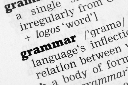 Grammar Dictionary Definition closeup black and white