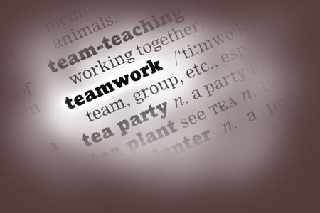 Teamwork Dictionary Definition closeup black and white