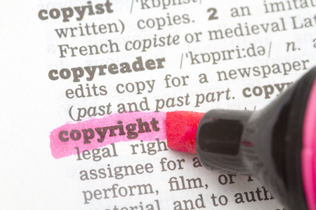 Copyright  Dictionary Definition single word with soft focus Stock Photo
