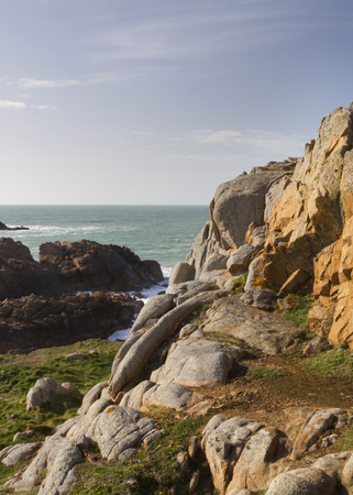 guernsey: Coastal scene on guernsey, the  Channel Islands. Stock Photo
