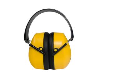 muff: Hearing protection yellow ear muffs Stock Photo