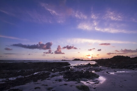 guernsey: Sunset on guernsey english channel islands UK