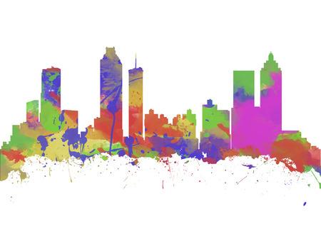 Watercolor art print of the skyline of Atlanta Georgia USA photo