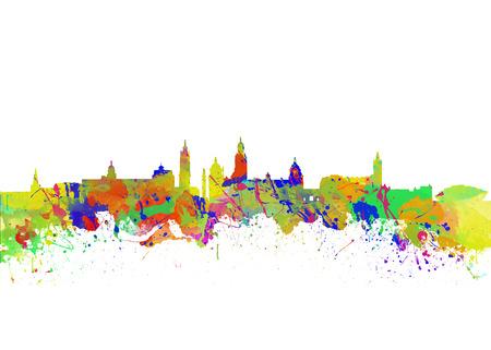 Glasgow Art Watercolor art print of the skyline of Glasgow, Scotland, United Kingdom photo
