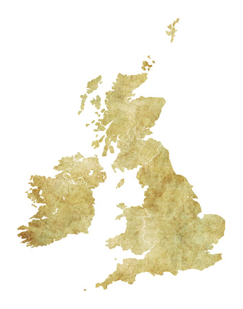 Great Britain Antique Texture Map Stock Photo
