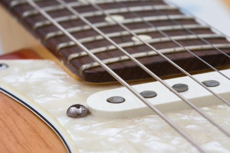 stringed instrument: Electric Guitar Stringed Instrument closeup macro shot