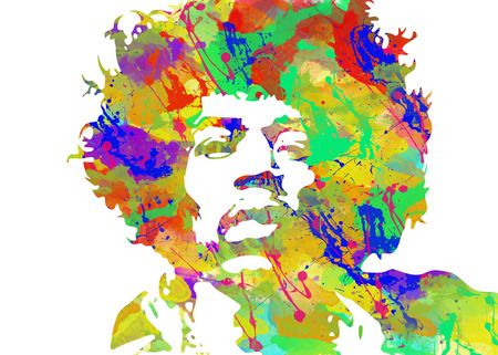 Jimi Hendrix Watercolor portrait