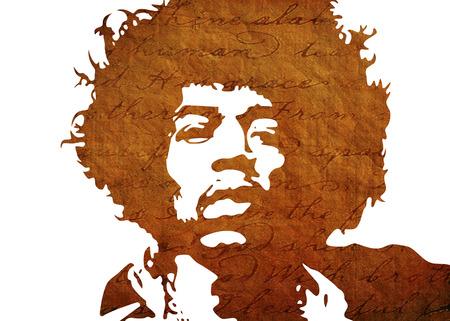 Jimi Hendrix Aquarel portret Redactioneel