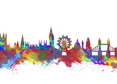 new england: Watercolor art print of the skyline of London Stock Photo