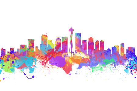 Aquarell-Kunstdruck auf die Skyline von Seattle USA Standard-Bild