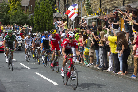 Greetland, England, JUL 06: The peloton riding up Hullen edge lane during the stage 2 of Le Tour de France on July 06 2014 in Greetland, England.