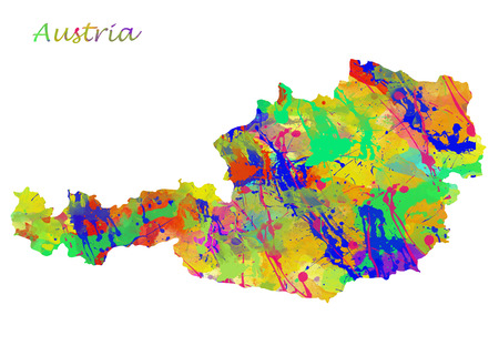 Austria Watercolor Map. Beautiful Wall Art  Home Decor Canvas Prints Image. great presentation in both corporate and personal settings ie offices clubs restaurants Home etc.