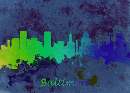 Watercolor art print of the skyline of Baltimore USA Beautiful Wall Art  Home Decor Canvas Prints Image. great presentation in both corporate and personal settings ie offices clubs restaurants Home etc. photo