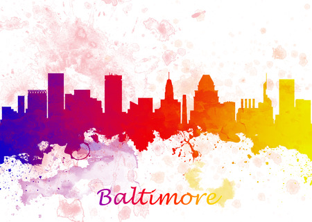 Watercolor art print of the skyline of Baltimore USA Beautiful Wall Art  Home Decor Canvas Prints Image. great presentation in both corporate and personal settings ie offices clubs restaurants Home etc. Stock Photo