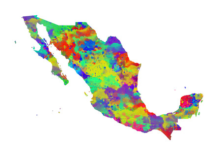 Mexico Watercolor Map. Beautiful Wall Art  Home Decor Canvas Prints Image. great presentation in both corporate and personal settings ie offices clubs restaurants Home etc. Stock Photo